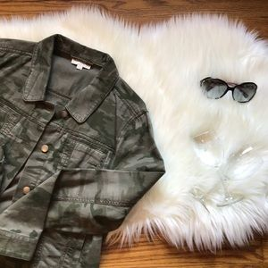 LOFT Denim Style Jacket In Olive Camo